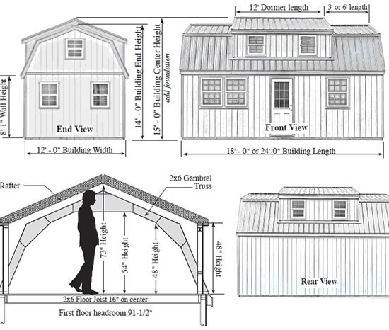 Lakewood 12x24 Shed Measurements