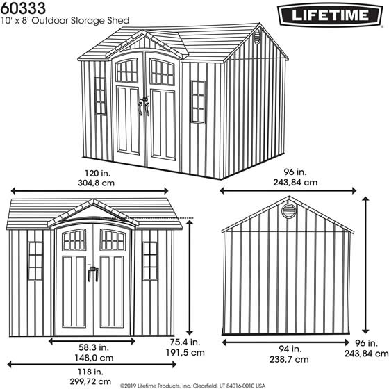 Lifetime 10x8 Shed 60333 - Measurements Diagram
