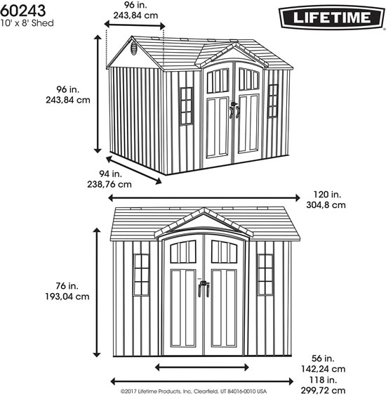 Lifetime 10x8 Shed 60243 Measurements Diagram