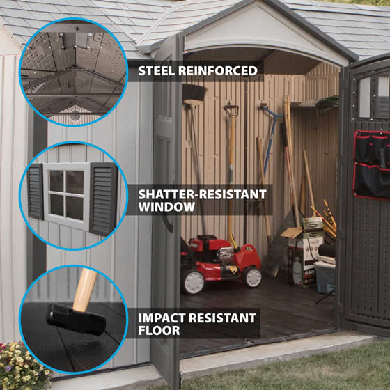 Lifetime 12x8 Shed 60223 - Features - Steel Reinforced, Plastic Floor, Shatter Proof Window