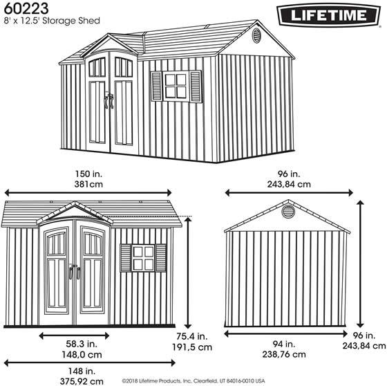 Lifetime 12x8 Shed 60223 - Measurements Diagram