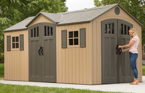 Lifetime 15x8 Beige Shed 60234 On Concrete Slab