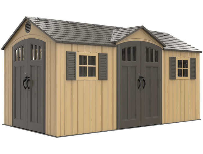 Lifetime 15x8 Plastic Shed Kit w/ Double Doors - Beige