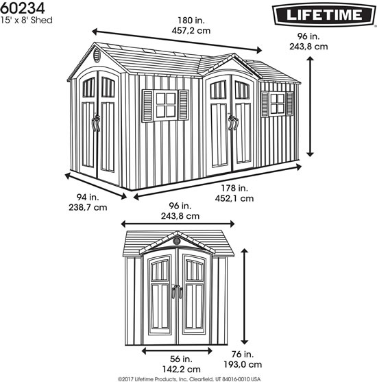 Lifetime 15x8 Shed 60234 Measurements Diagram