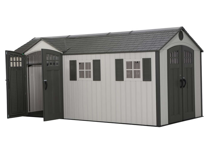 Lifetime 17.5x8 Plastic Storage Shed Kit w/ Double Doors