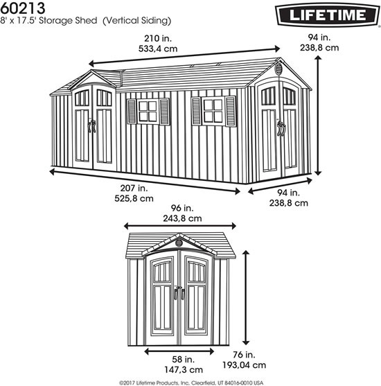 Lifetime 17x8 Shed 60213 Measurements Diagram