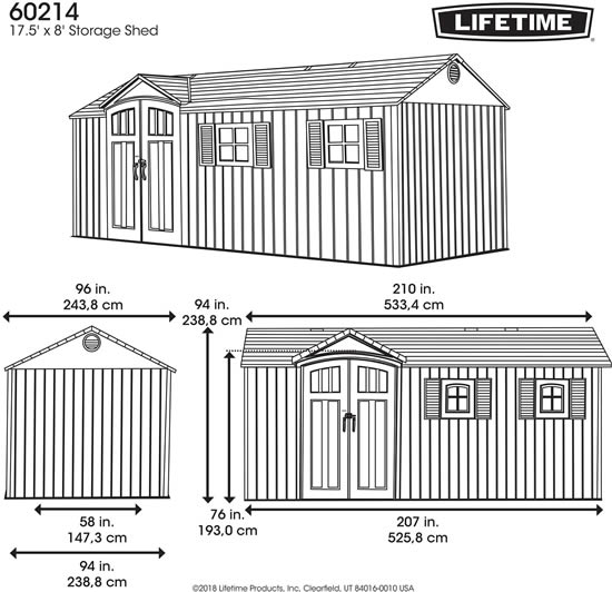 Lifetime 17x8 Shed 60214 Measurements Diagram
