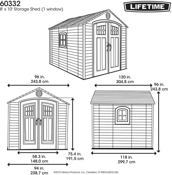 Lifetime 8x10 Shed 60332 Measurements Diagram