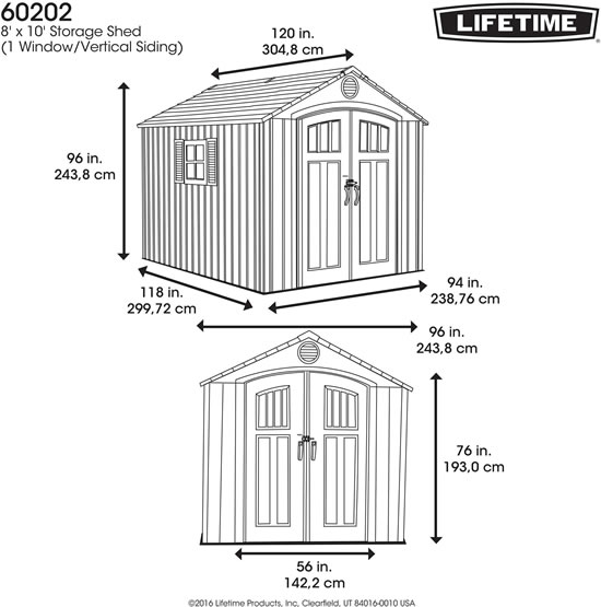 Lifetime 8x10 Shed 60202 Measurements Diagram