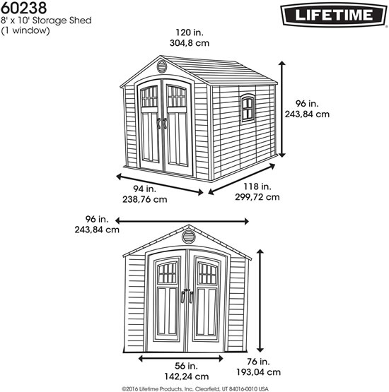 Lifetime 8x10 Shed 60238 Measurements Diagram