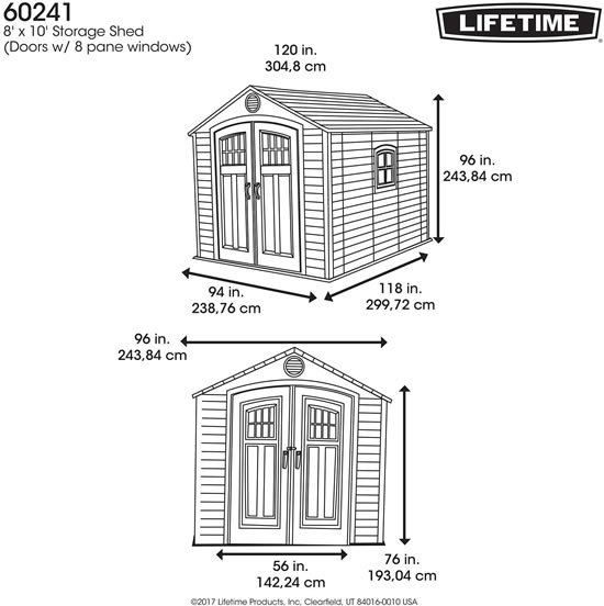 Lifetime 8x10 Shed 60241 Measurements