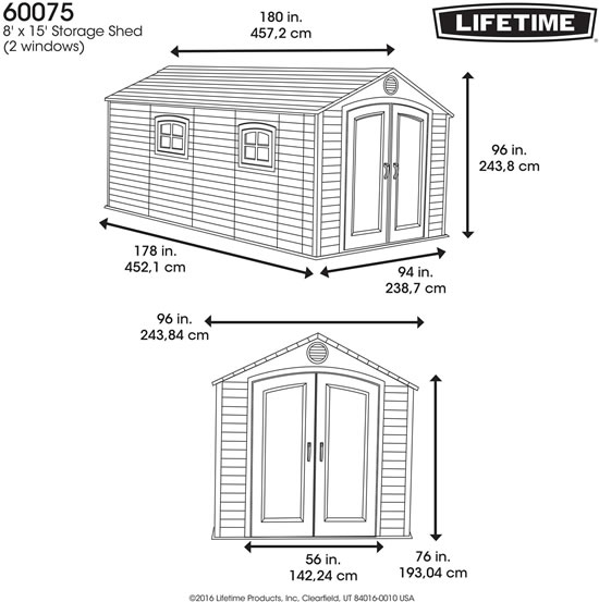 Lifetime 8x15 Shed 60075 Measurements