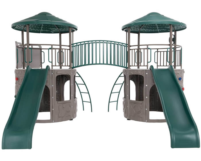 Lifetime Double Tower Swing Set w/ Bridge - Earthtone