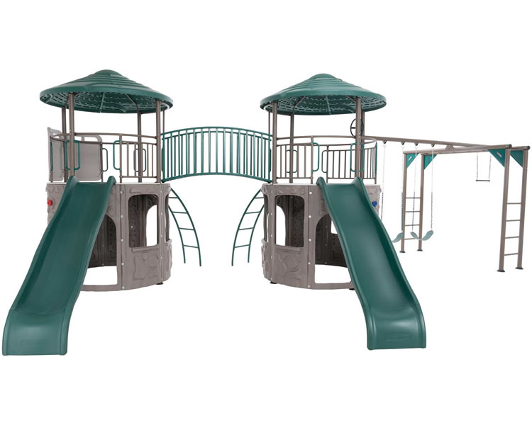 Lifetime Double Slide Swing Set w/ Monkey Bars & Bridge