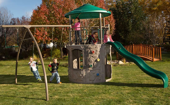 Lifetime Adventure Tower Swing Set 290633 Assembled In Backyard
