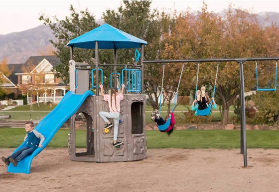 Lifetime Adventure Tower Swing Set 90918 Assembled In Backyard