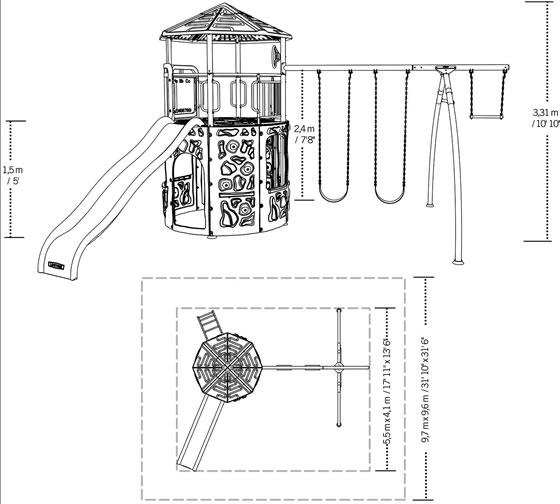 Lifetime Adventure Tower Swing Set 90918 Measurements