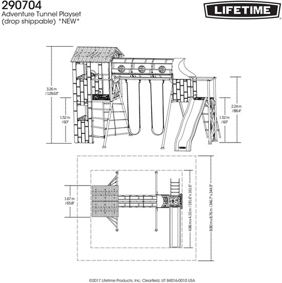 Lifetime Adventure Tunnel Swing Set 290704 Measurements