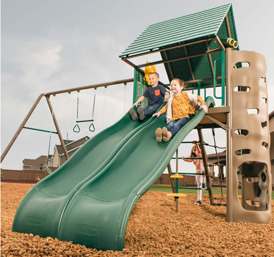 Lifetime Double Slide Swing Set 90797 Slide Races In Your Backyard!
