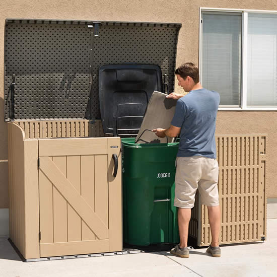 Lifetime Horizontal Storage Box Sheds Fit 2 Large Trash Cans Or Recycle Bins