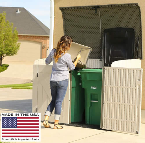 The Lifetime 6x3 Horizontal Storage Shed Kit is great for out of sight trash can storage!