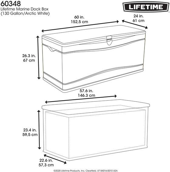 Lifetime 130 Gallon Marine Dock Storage Box 60348 Measurements