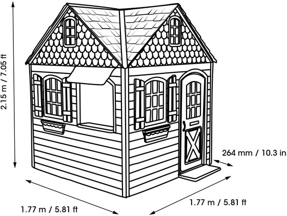 Lifetime 6x6 Playhouse Kit Measurements and Dimensions Diagram