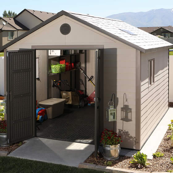 Lifetime 11x13 Shed 6415 Assembled In Backyard - Doors Open