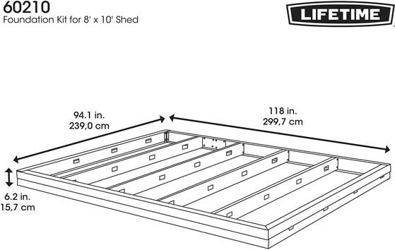 Lifetime Shed Foundation Kit Measurements Diagram