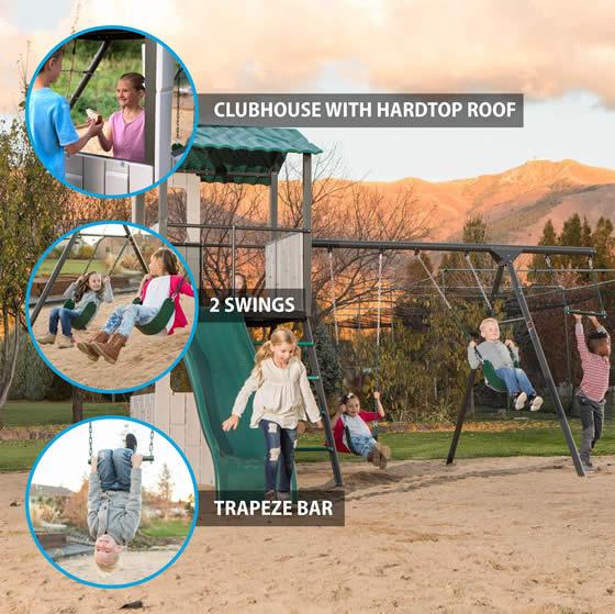 Hard Top Roof, 2 Swings & Trapeze Bar!