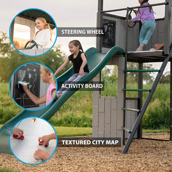 Pirate Steering Wheel, Activity Chalkboard & Textured City Map!