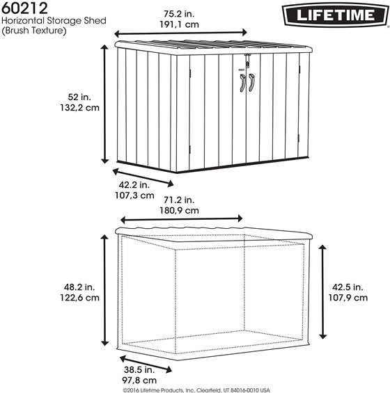 Lifetime 6x3 Trash Can Shed Kit Measurements and Dimensions Diagram