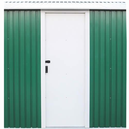 DuraMax 12x26 Green Steel Garage - side door is pad lockable