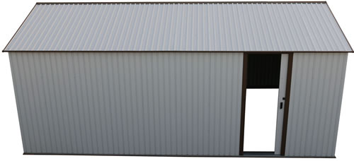 DuraMax 12x20 White Steel Garage - side door is pad lockable