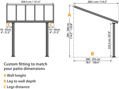 Palram 10x10 Gala Patio Cover Measurements