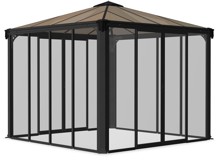 Palram 10x10 Ledro Enclosed Gazebo Kit - Gray / Bronze