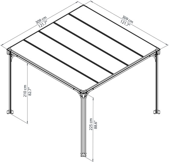 Palram 10x10 Milano 3000 Gazebo Kit Measurements Diagram