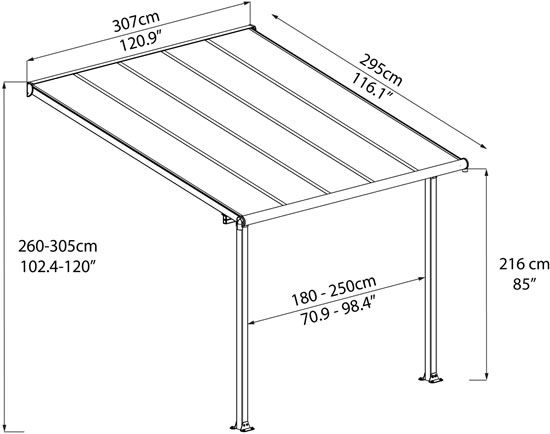 Palram 10x10 Olympia Patio Cover Measurements