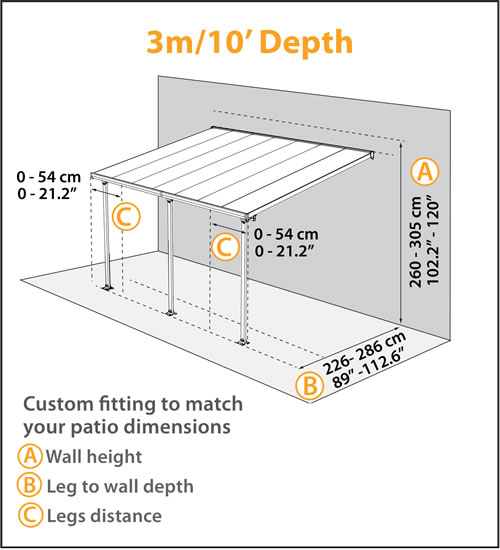 Palram 10x10 Feria Patio Cover Measurements