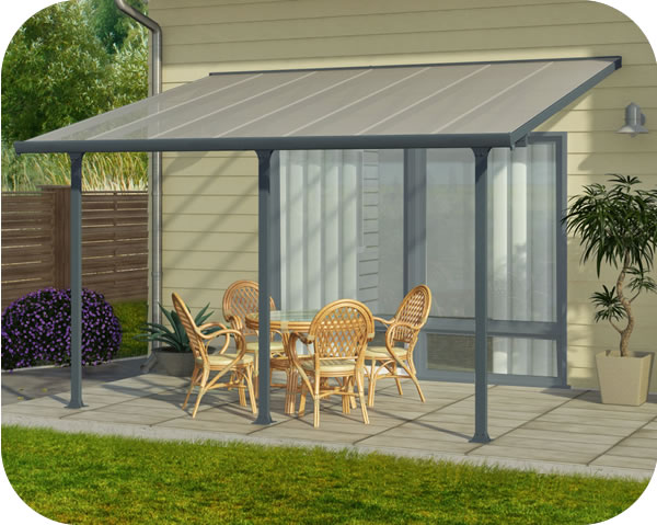 Palram 10x14 Feria Patio Cover Kit Gray