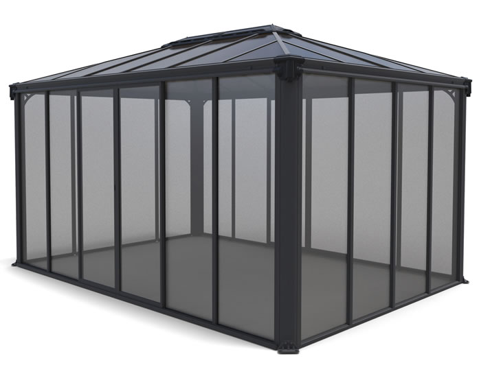 Palram 10x14 Ledro Enclosed Gazebo Kit - Gray / Bronze