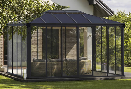 Ledro 10x14 Enclosed Gazebo Sunroom Assembled in Backyard
