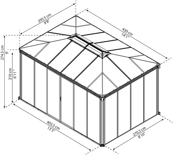 Ledro 10x14 Enclosed Gazebo Sunroom Measurements Diagram