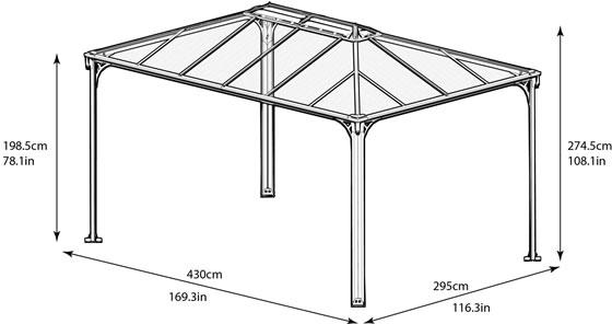 Palram 10x14 Martinique Rectangle Garden Gazebo Kit Measurements Diagram