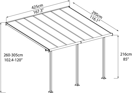 Palram 10x14 Olympia Patio Cover Measurements