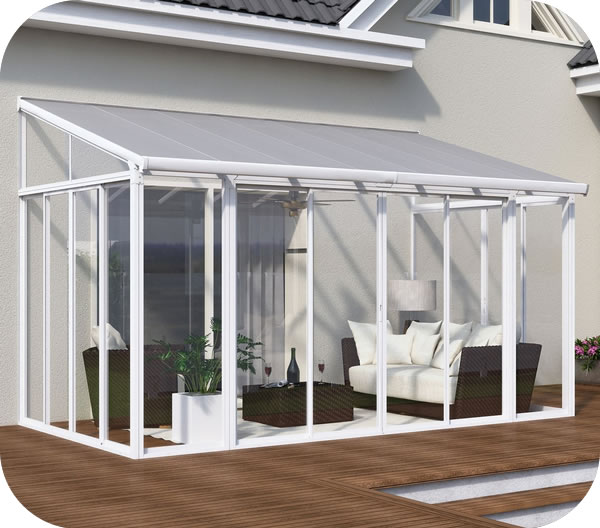 the palram 10x14 sanremo patio enclosure kit with screen doors adds an