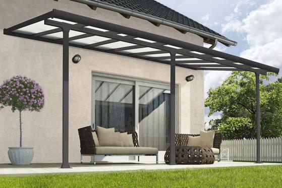 Palram 10x18 Feria Gray Patio Cover Kit HG9418 Assembled On Backyard Patio