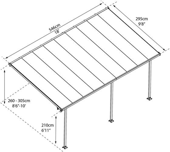 Palram 10x18 Feria Gray Patio Cover Kit HG9418 Measurements Diagram
