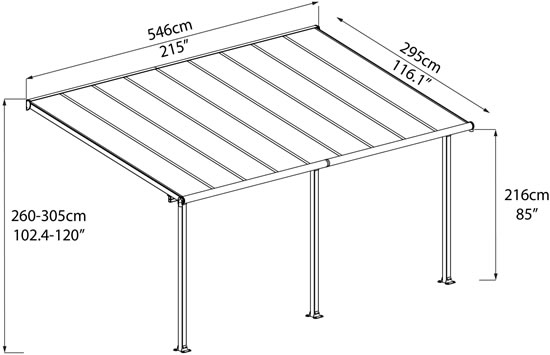 Palram 10x18 Olympia Patio Cover Measurements