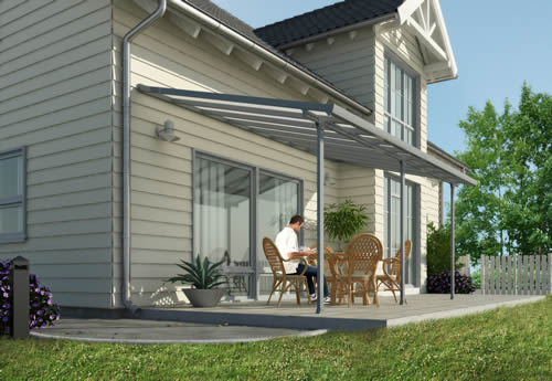 Palram 10x20 Feria Gray Patio Cover Kit HG9420 Assembled On Backyard Patio